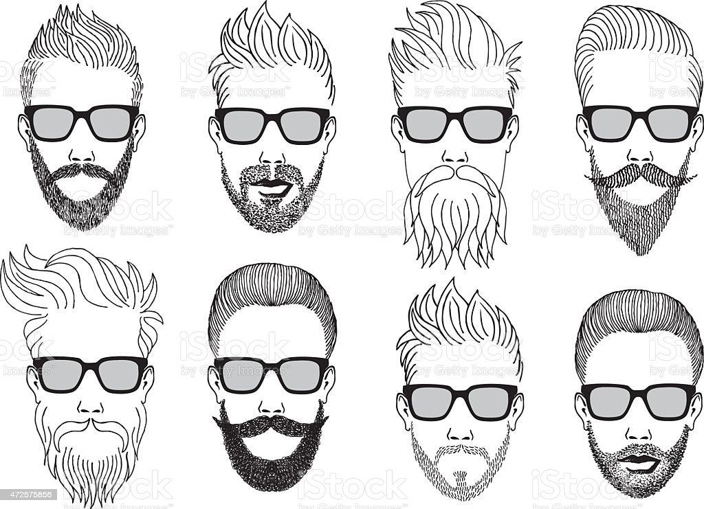 Ilustraci 243 N De Hipster Rostros Con Barba Vector Set Y M 225 S