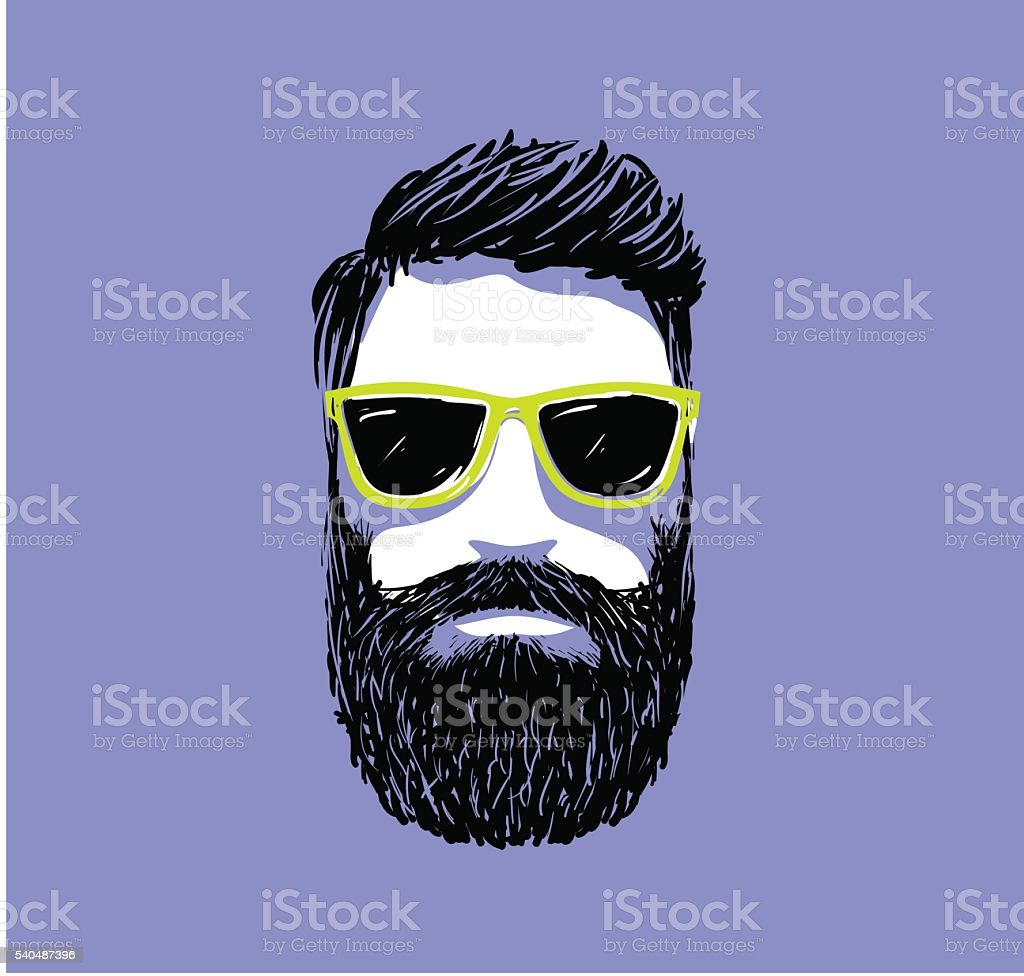 Hipster fashion bearded man portrait in sunglasses, Hand drawn vector vector art illustration