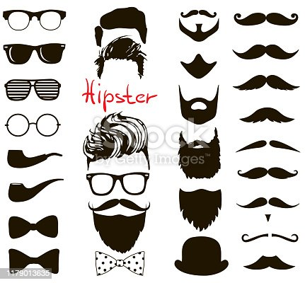 hand drawn Hipster fashion set. haircuts, beards, glasses, bowtie and pipe