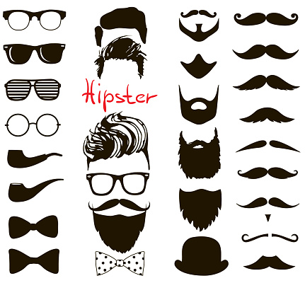 Hipster fashion doodle set. haircuts, beards, glasses, bowtie, mustaches and pipe