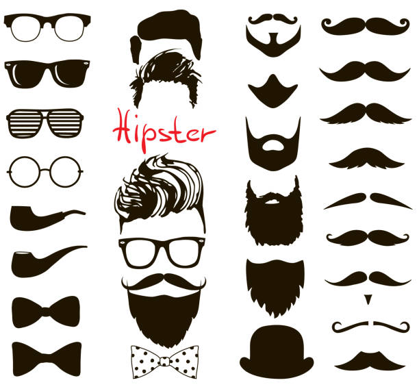 ilustrações de stock, clip art, desenhos animados e ícones de hipster fashion doodle set. haircuts, beards, glasses, bowtie, mustaches and pipe - barba