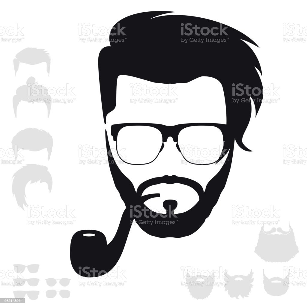 hipster fashion set bearded face avatar silhouette haircuts beards