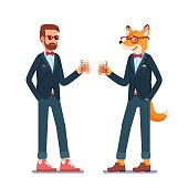 Hipster fox and man standing in their fancy suits