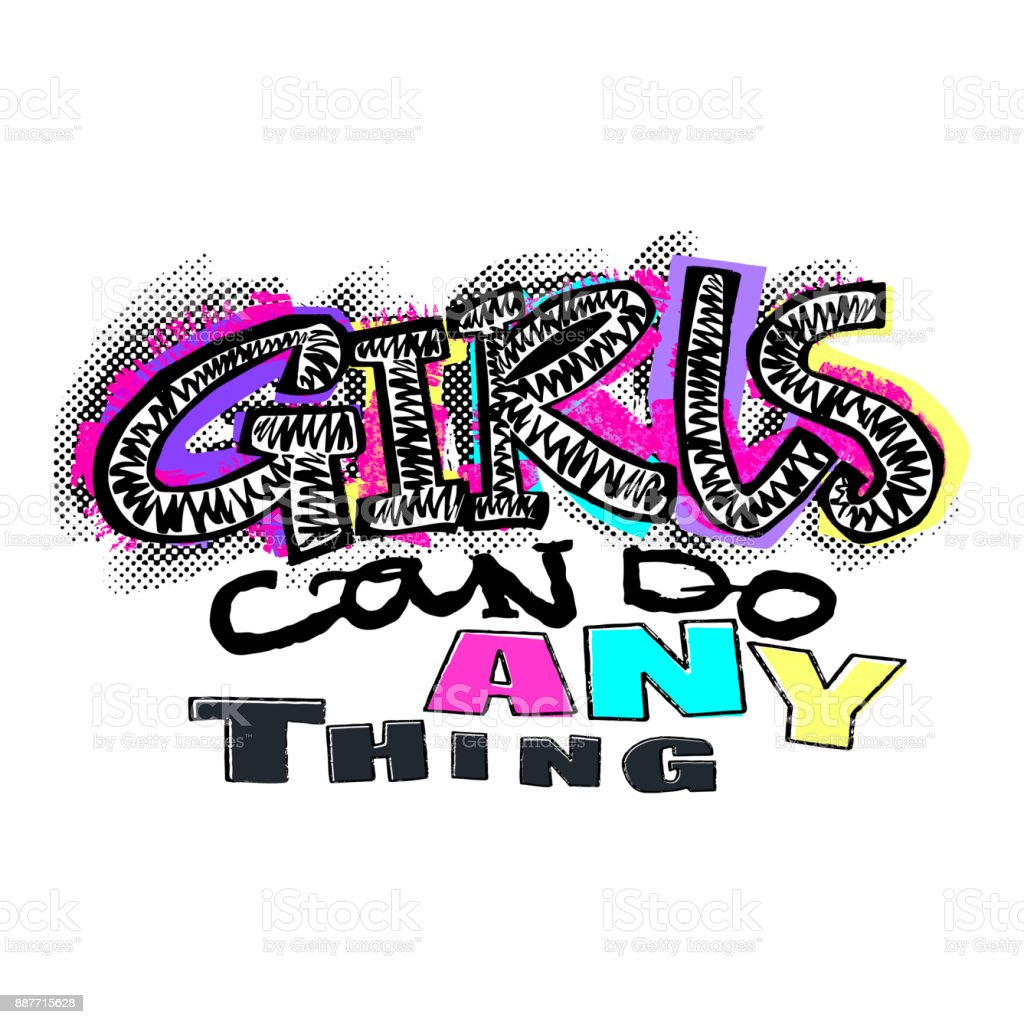 hipster funky t shirt girls motivation print in graffiti urban stylegirls can do