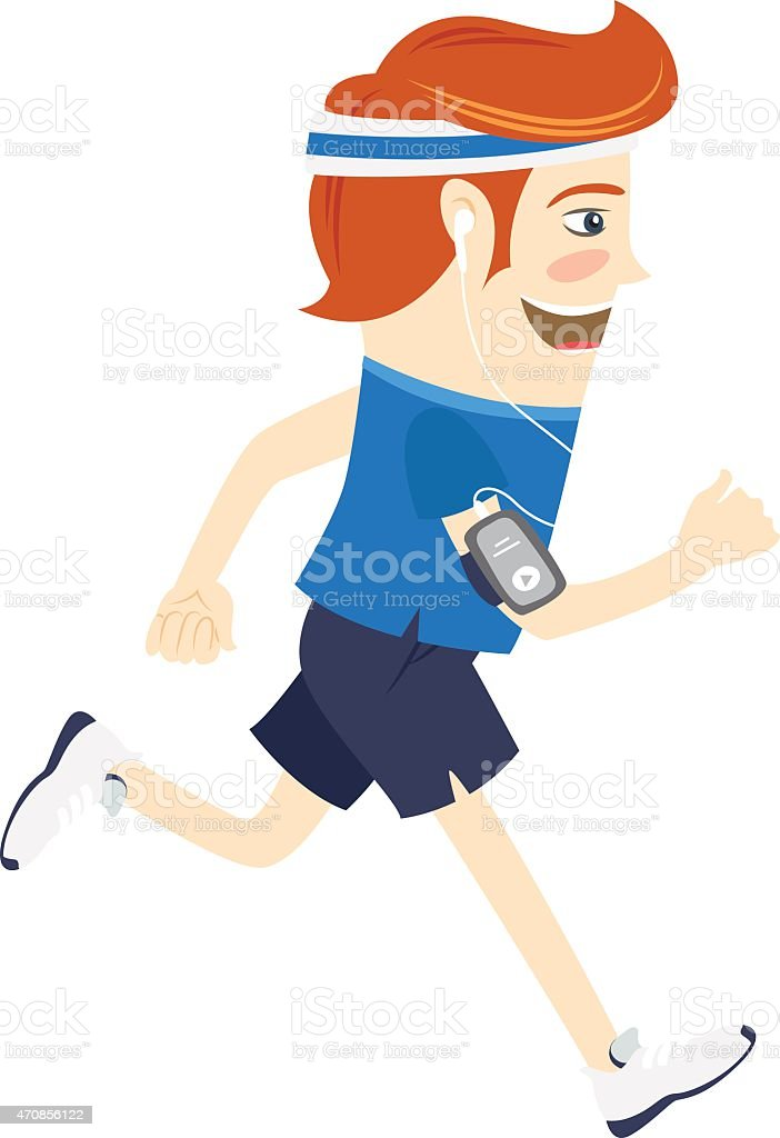 Hipster funny man running and listening music. Flat style vector art illustration