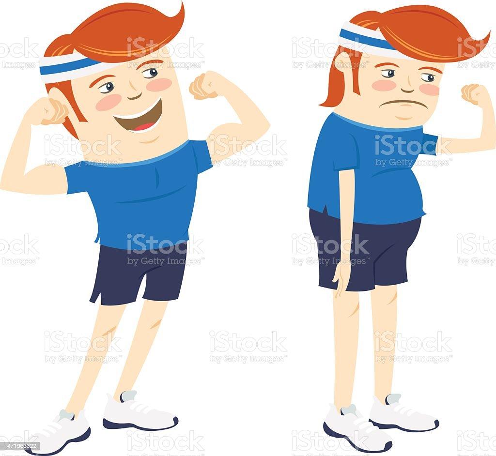 Hipster funny men showing biceps. Flat style vector art illustration