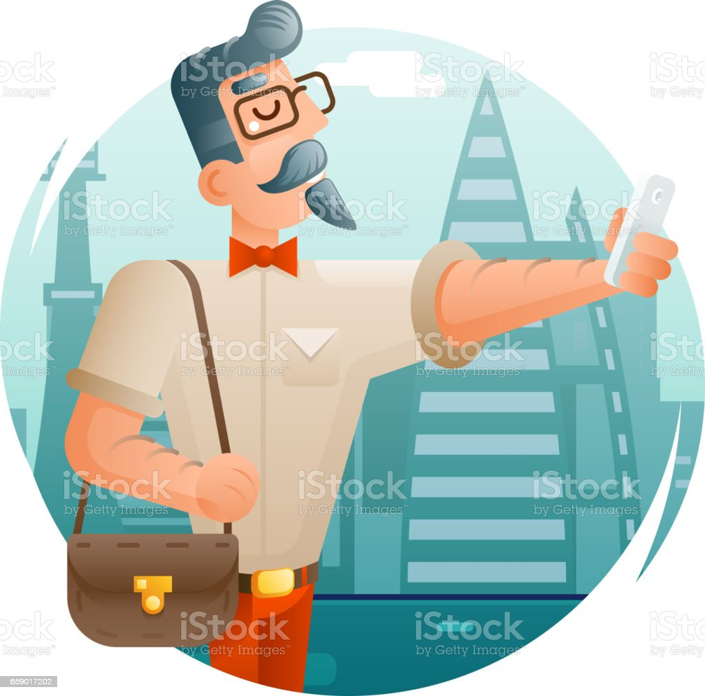 Hipster Geek Mobile Phone Selfie Businessman Cartoon Character Icon City Background Flat Design Vector Illustration royalty-free hipster geek mobile phone selfie businessman cartoon character icon city background flat design vector illustration stock vector art & more images of adult