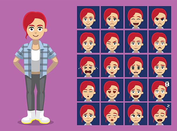 Hipster Ginger Girl Cartoon Character Emotion faces Vector Illustration – Vektorgrafik