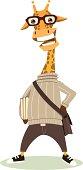 Vector cute cartoon hipster giraffe holding books.
