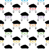 Vector seamless pattern of hipster girl faces with berets and eyeglasses on a white background.
