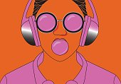 Young hipster girl listening to music on headphones in a summer park. Portrait close-up with chewing gum. Warm toning. The concept of cheerful youth. Vector illustration