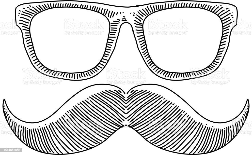 3db456c1f0 Lentes de hipster bigote dibujo ilustración de lentes de hipster bigote  dibujo y más vectores libres