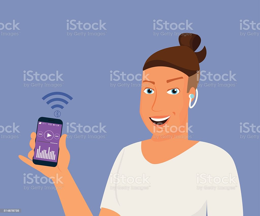 Hipster guy is listening to music via bluetooth vector art illustration