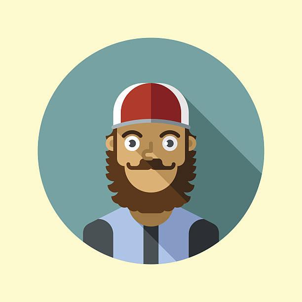 ilustraciones, imágenes clip art, dibujos animados e iconos de stock de hipster hombre con barba y tapa.  iconos de la moda hipster serie. - conductor de autobús