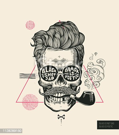 istock Hipster Hair Skull Smoke Pipe Vector Poster Print. Modern Mustache Skeleton Face Portrait in Sunglasses. Urban Typography Stylish Geometric Banner. Monochrome Sailor Head Black Tattoo. 1128289150