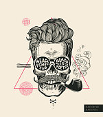 Hipster Hair Skull Smoke Pipe Vector Poster Print. Modern Mustache Skeleton Face Portrait in Sunglasses. Urban Typography Stylish Geometric Banner. Monochrome Sailor Head Black Tattoo