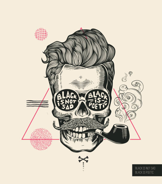 hipster hair skull smoke pipe vector poster print. modern mustache skeleton face portrait in sunglasses. urban typography stylish geometric banner. monochrome sailor head black tattoo. - old man smoking pipe drawing stock illustrations, clip art, cartoons, & icons