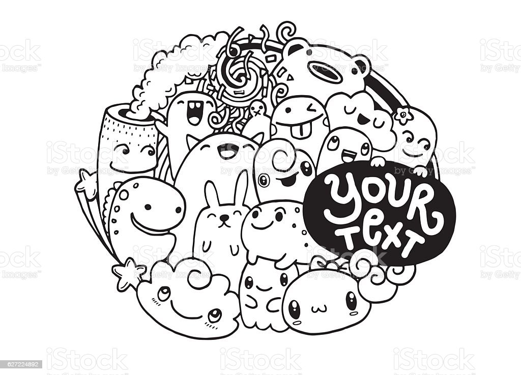 Hipster hand drawn happy doodle monster citydrawing for Doodle art monster