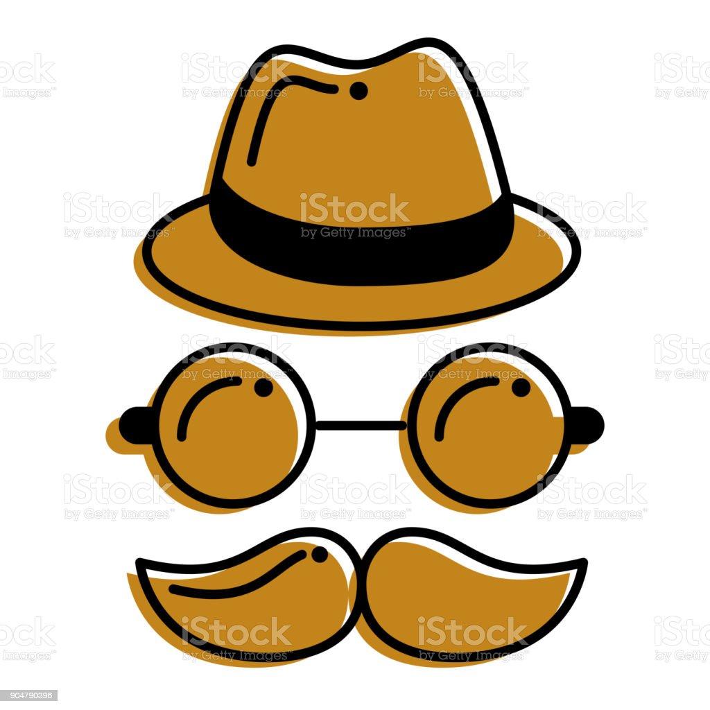 hipster hat mustache glasses face vector art illustration