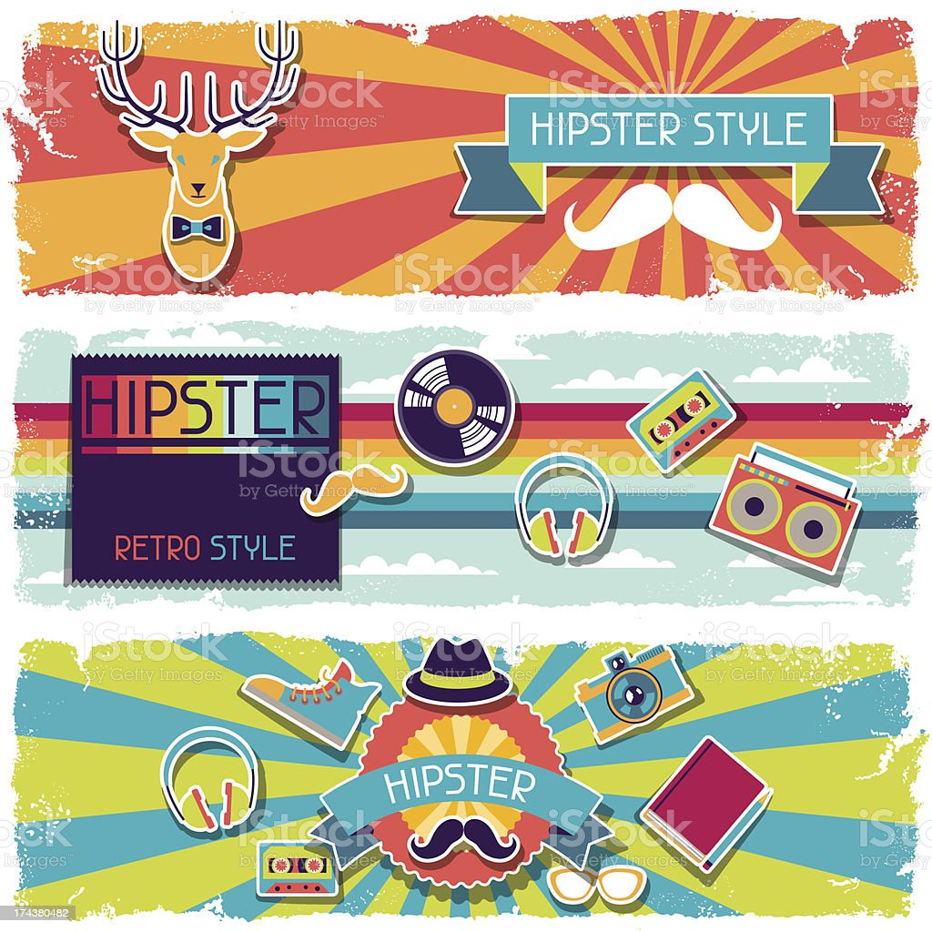 Hipster horizontal banners in retro style. royalty-free stock vector art
