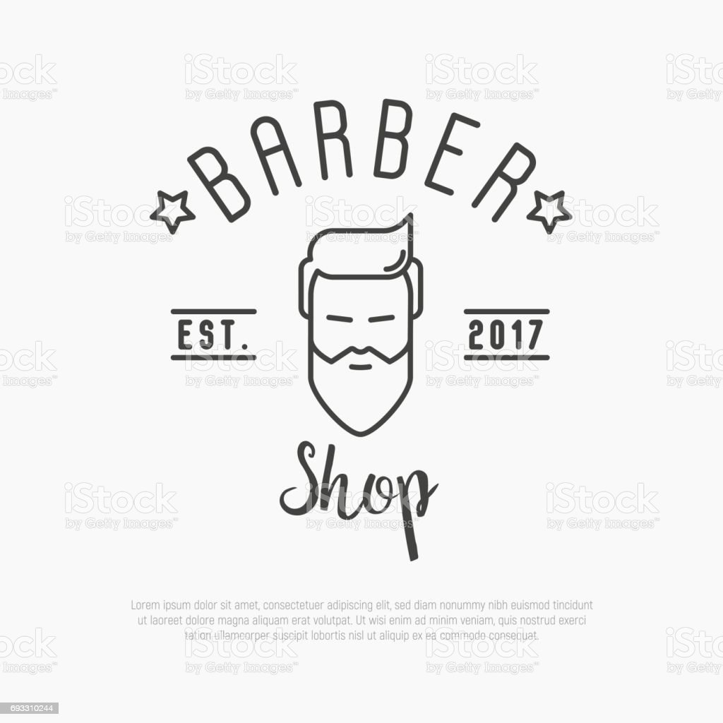 Hipster icon for barber shop with bearded man. Minimalistic thin line vector illustration. vector art illustration