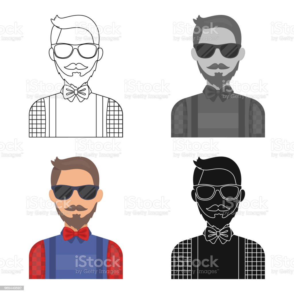 Hipster icon in cartoon style isolated on white background. Hipster style symbol stock vector web illustration. hipster icon in cartoon style isolated on white background hipster style symbol stock vector web illustration - stockowe grafiki wektorowe i więcej obrazów broda royalty-free