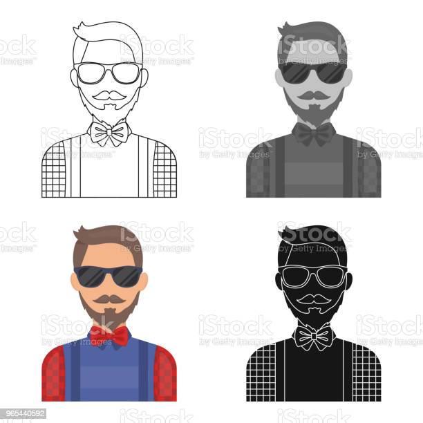 Ikona Hipstera W Stylu Kreskówki Izolowana Na Białym Tle Symbol Stylu Hipster Stock Wektor Ilustracji Internetowej - Stockowe grafiki wektorowe i więcej obrazów Broda
