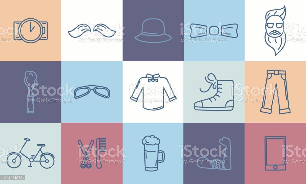 Ilustración de Hipster Iconos Accesorios Set En Estilo Del