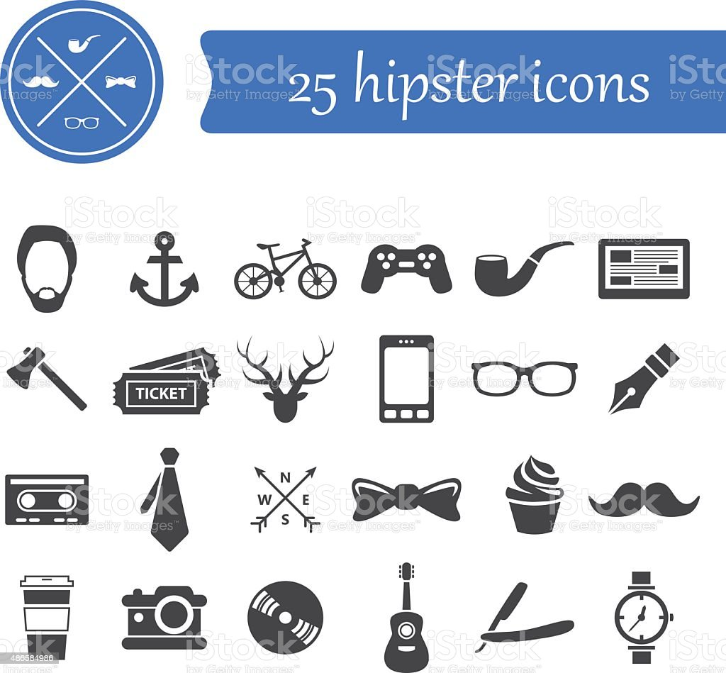 hipster icons vector art illustration