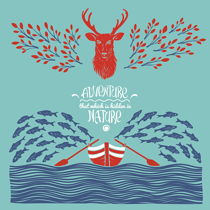 Hipster Illustration with Deer