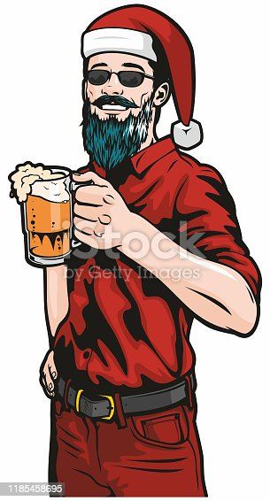 istock Hipster In Santa Hat With Beer 1185458695