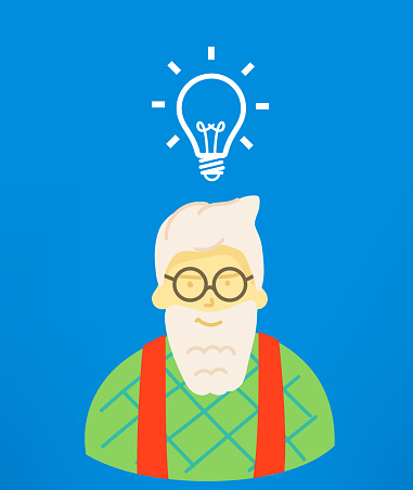 Hipster is thinking. Idea concept with hipster and lightbulb