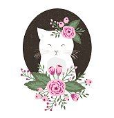 Hipster kitty with flowers on vintage textured  background,