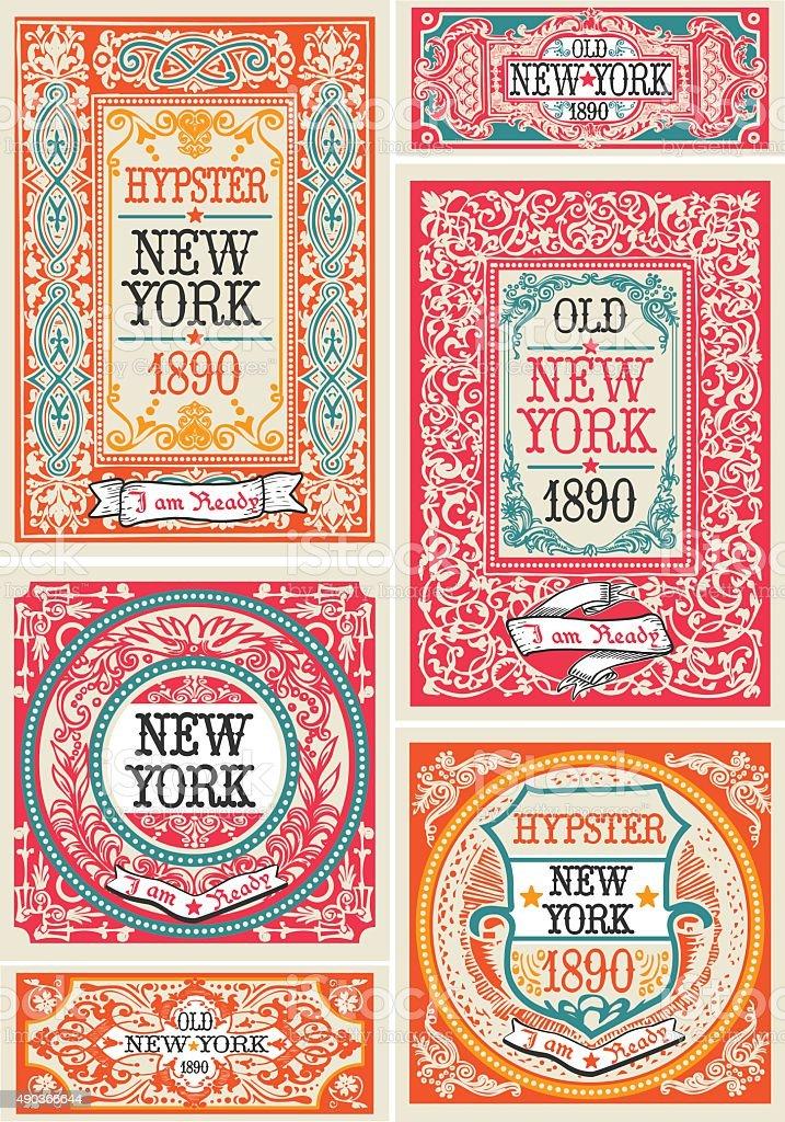Hipster Labels 01 Vintage 2D vector art illustration