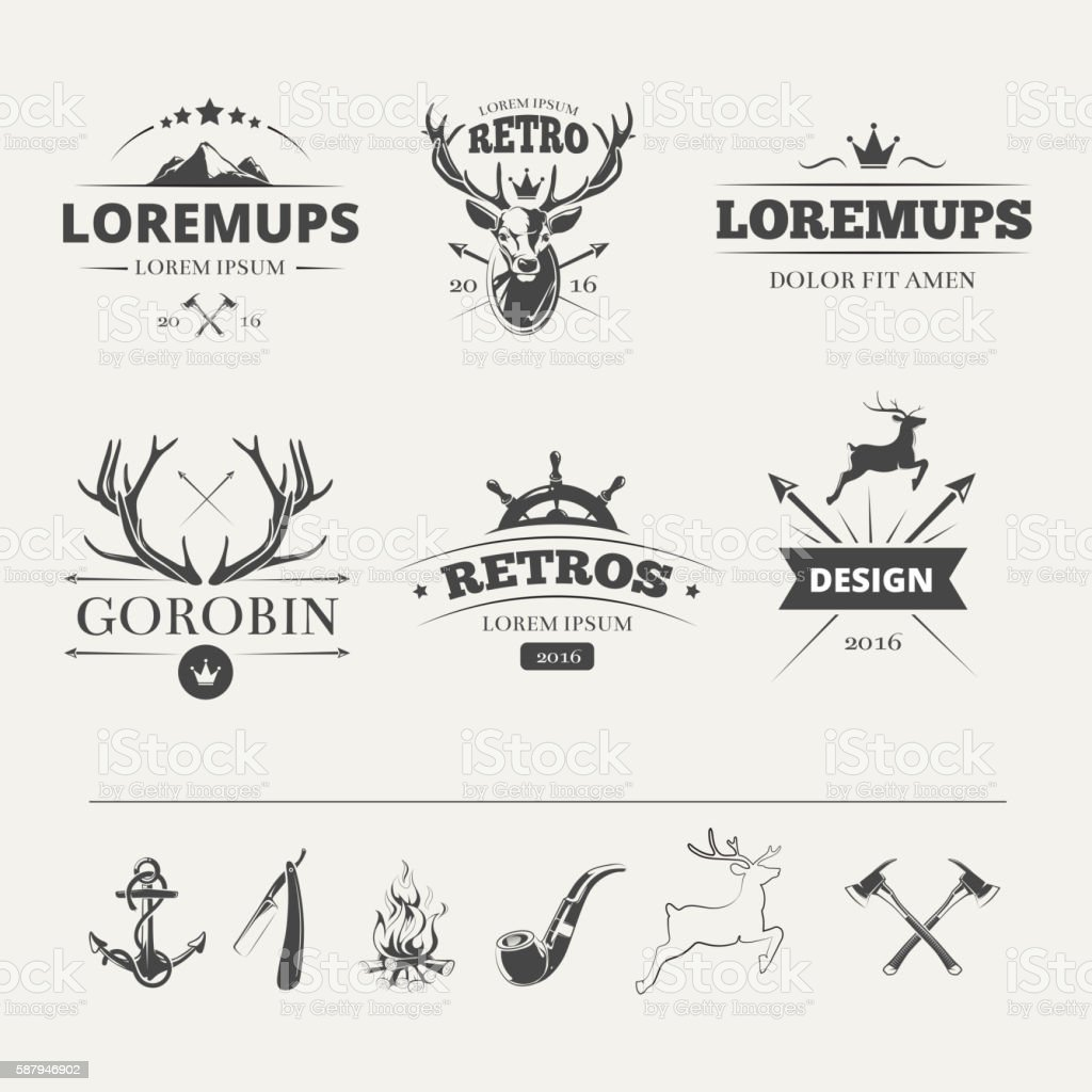 Hipster labels set with deer and antlers vector art illustration