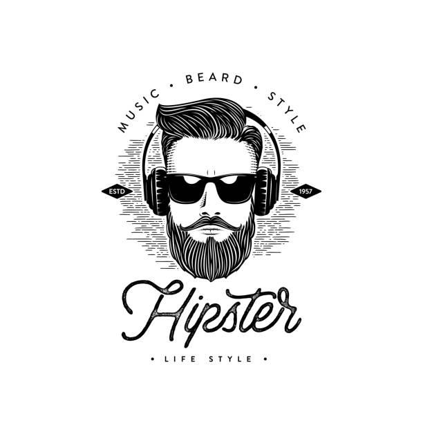 stockillustraties, clipart, cartoons en iconen met hipster levensstijl baard man. vector illustratie - baard