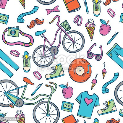 Hipster Lifestyle Pattern Background Stock Vector Art & More Images of Arts Culture and Entertainment 622770900