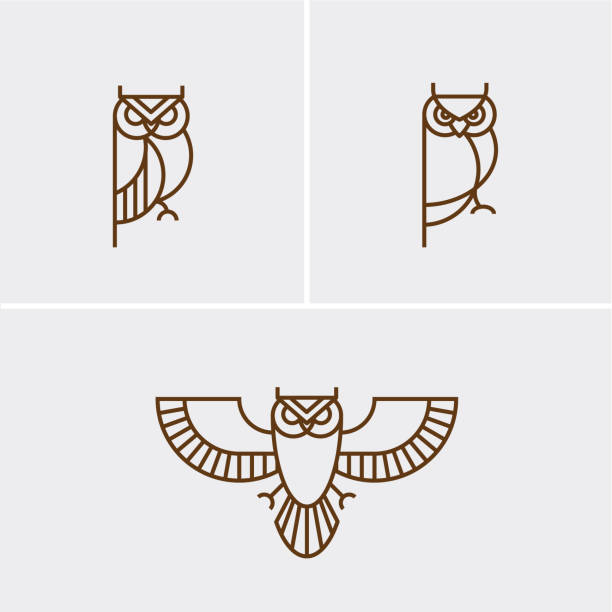 hipster linear owl logo - sowa stock illustrations