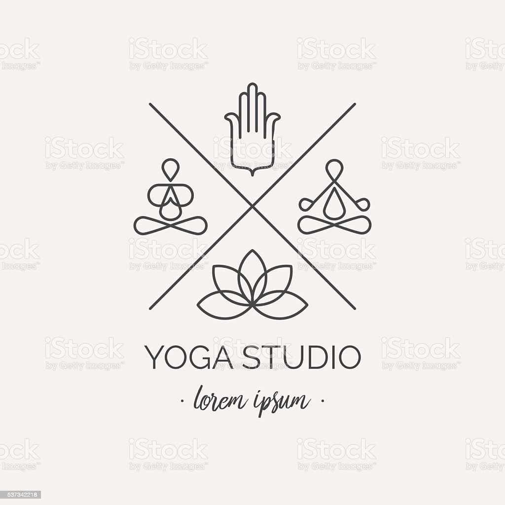 Hipster logo or label for yoga studio, shop. vector art illustration