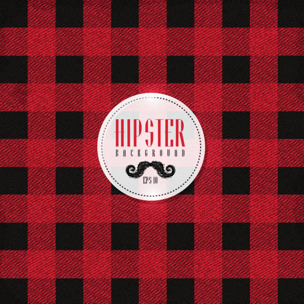 hipster lumberjack print, plaid or flannel pattern - flannel backgrounds stock illustrations, clip art, cartoons, & icons