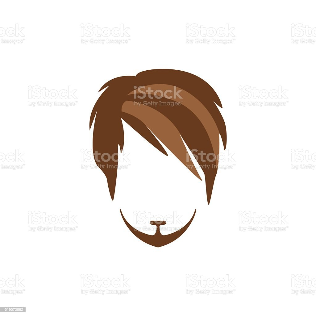Hipster Male Hair and Facial  Style With Side Fringe  Goatee vector art illustration