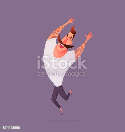 Hipster male positive emotions. Moustache character with tattoos. Vector illustration in a cartoon style. Joy man jumping.
