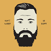 Hipster man face sign with text Don't Worry, Be Happy