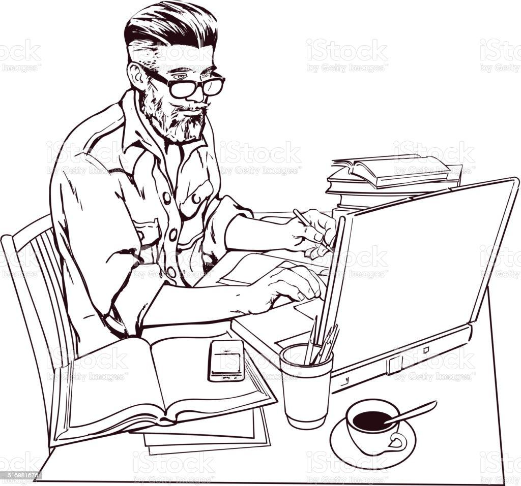 Ilustracion De Hipster Hombre En Una Chaqueta De Vestir Pantalones Vaqueros En El Trabajo Un Amplio Y Mas Vectores Libres De Derechos De Adulto Istock