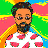 Hipster man in dark sunglasses with beard and mustache. Hand drawn vector summer illustration.