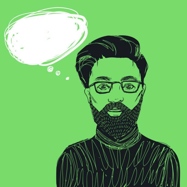 ilustrações, clipart, desenhos animados e ícones de homem hipster glasse com barba e bigode. mão-extraídas ilustração vetor com bolha para texto. - moda urbana