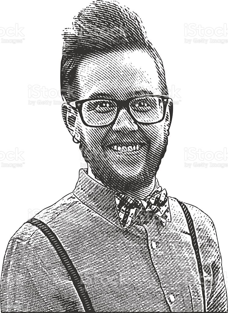 Hipster Man Portrait vector art illustration