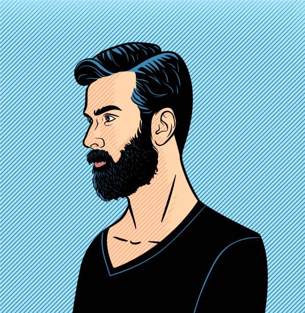 illustrazioni stock, clip art, cartoni animati e icone di tendenza di halftone vettoriale dell'uomo hipster - man portrait