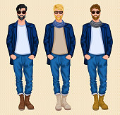 Hipster character male avatar persons set of blond dark brown hair men isolated vector illustration