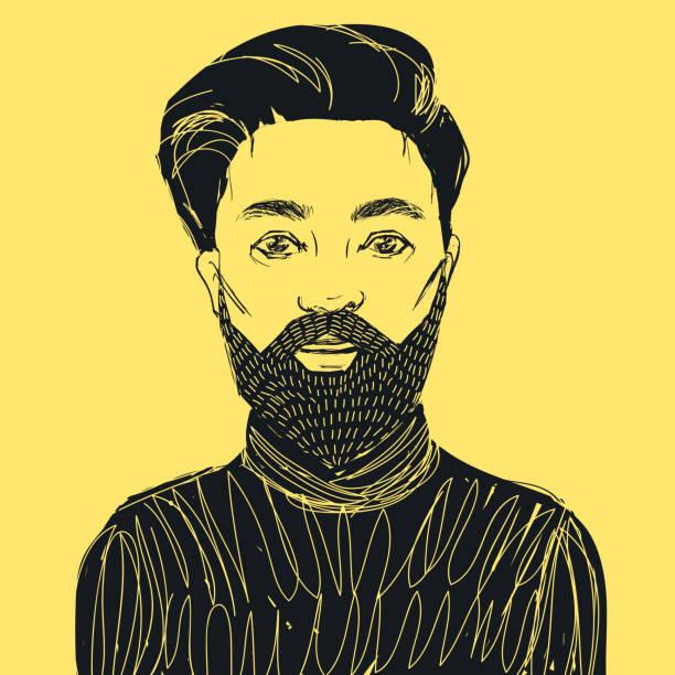 ilustrações, clipart, desenhos animados e ícones de homem hipster com barba e bigode. ilustração do vetor de mão desenhada. - moda urbana